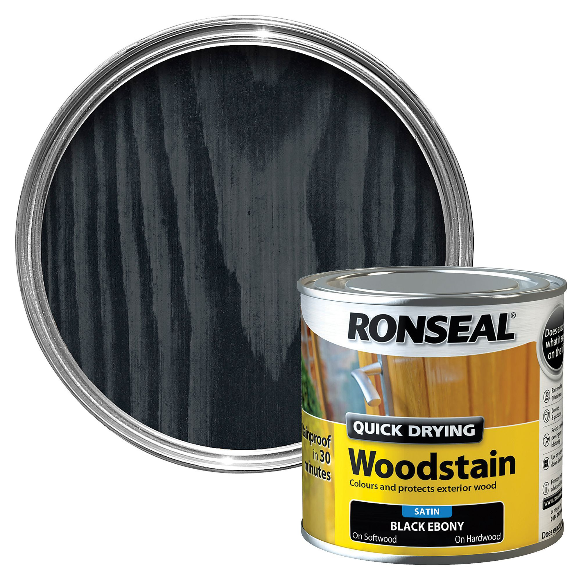 Exterior White Stain For Wood: Ronseal Ebony Satin Woodstain 0.25L
