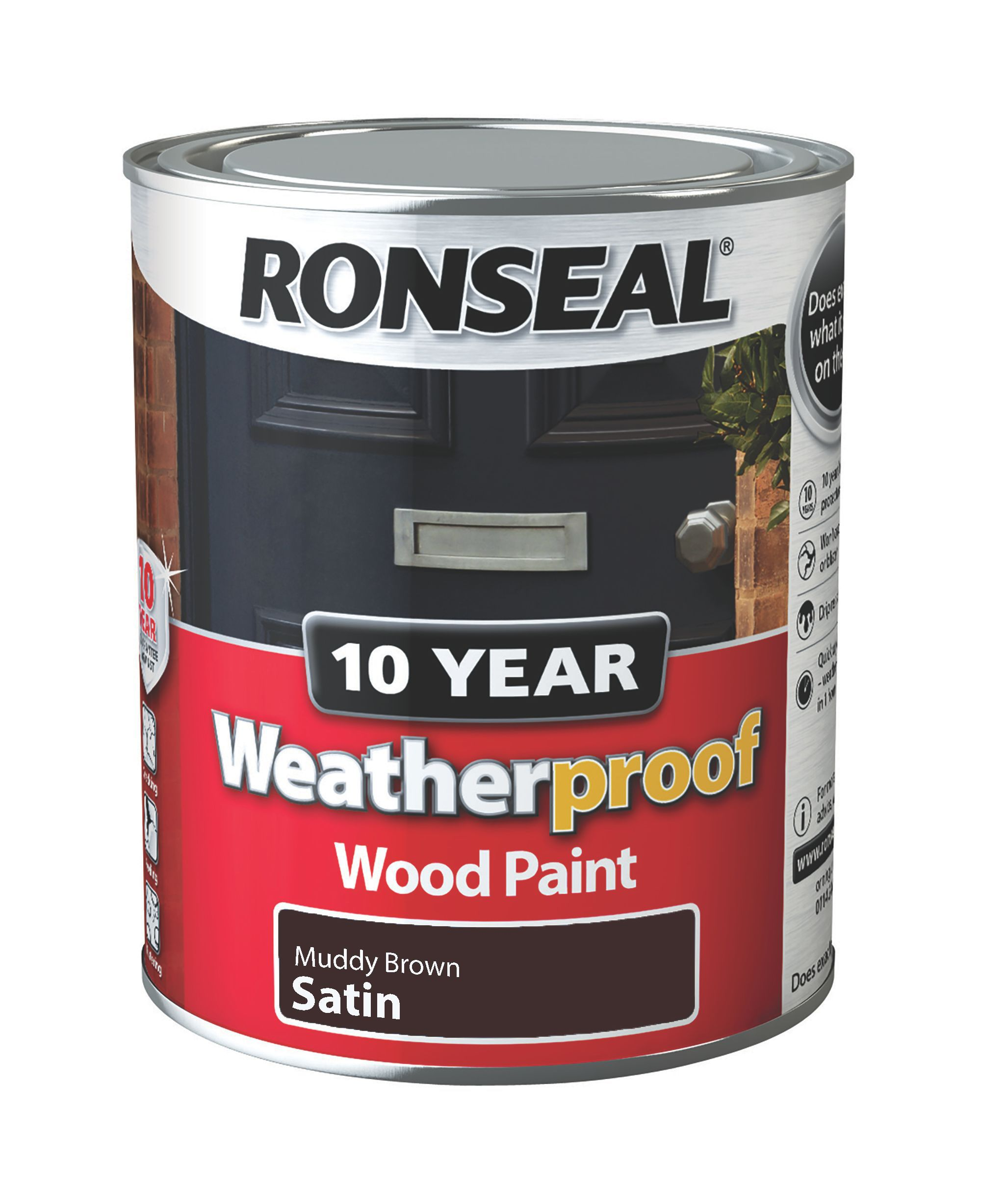 Ronseal Muddy Brown Satin Wood Paint 750ml