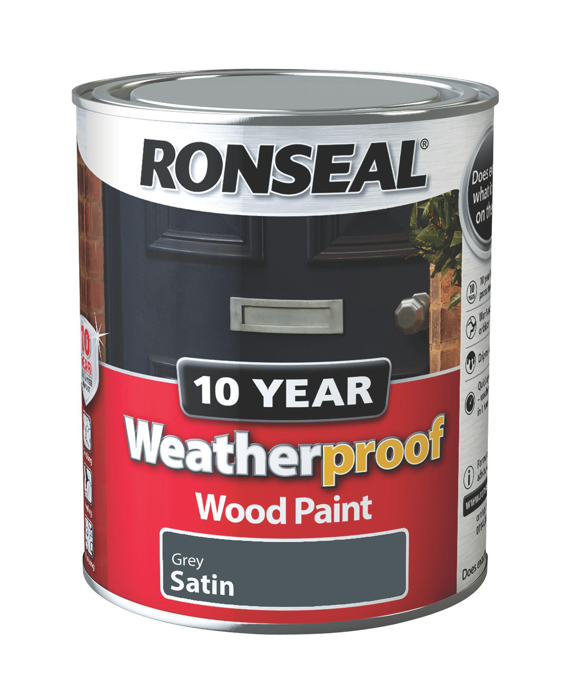 Ronseal Grey Stone Satin Wood Paint 750ml Departments Diy At B Q