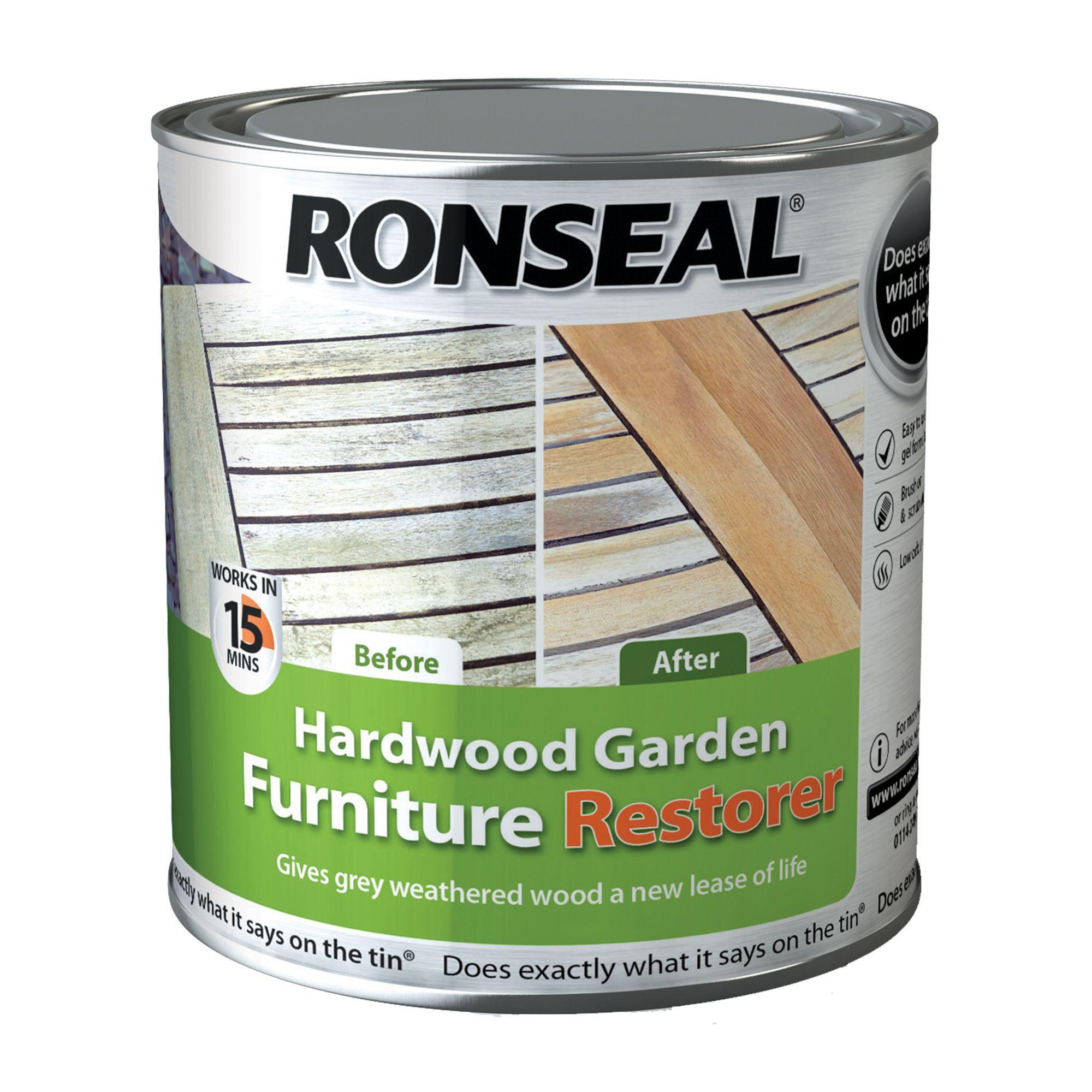 Ronseal Garden Clear Hardwood Garden Furniture Restorer 1L. Ronseal Ultimate Natural Hardwood Garden Furniture Oil 1L