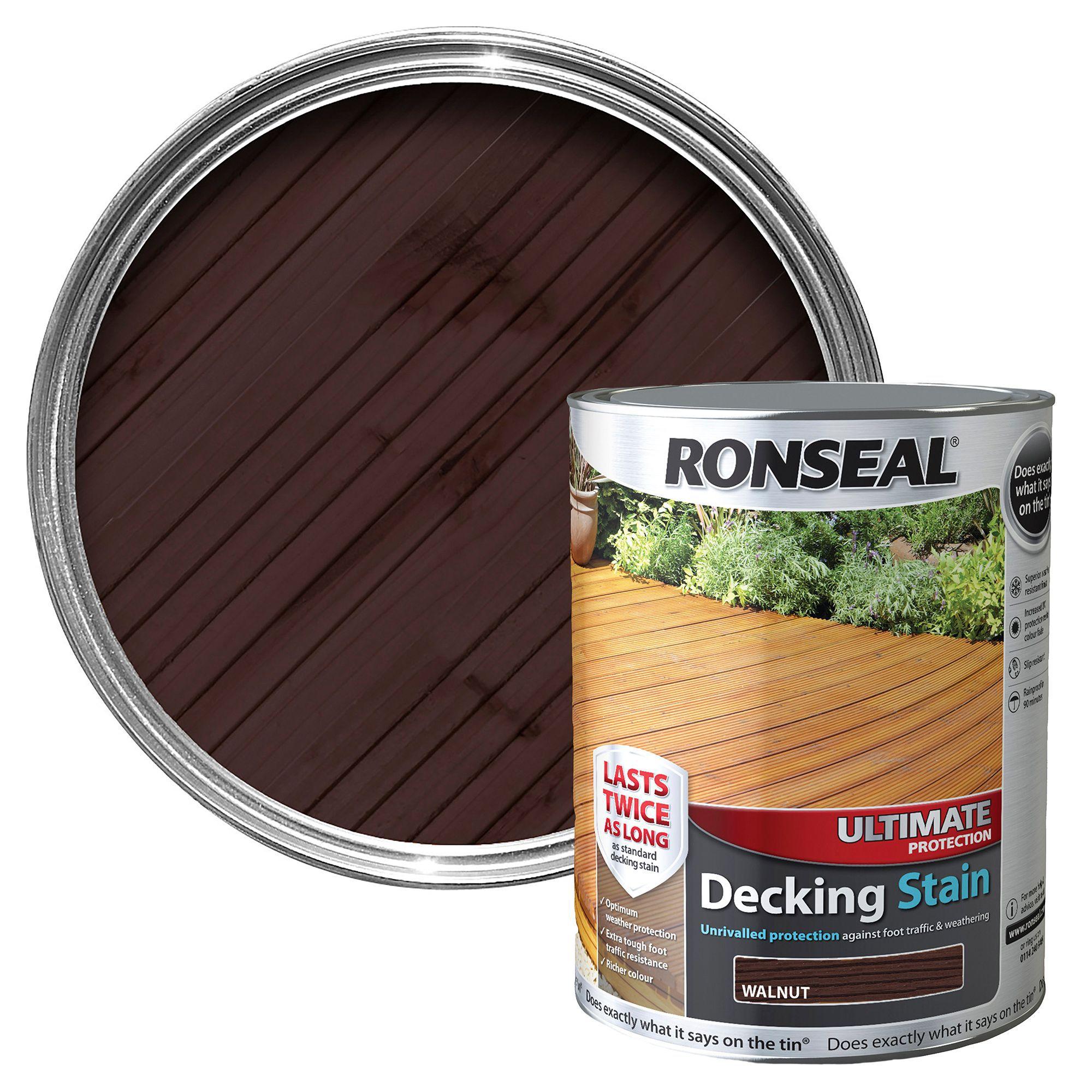 ronseal ultimate walnut matt decking stain 5l. Black Bedroom Furniture Sets. Home Design Ideas