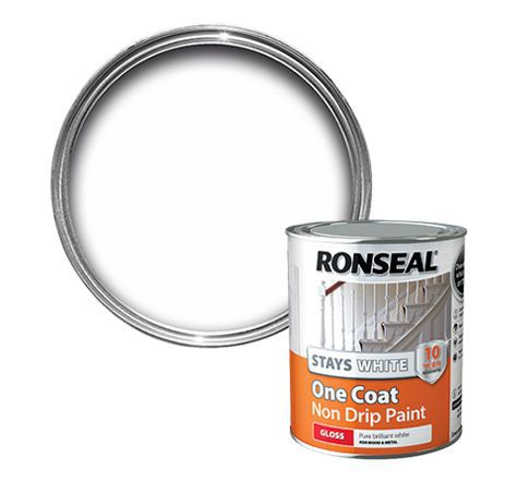 Ronseal interior white gloss one coat non drip paint 750ml for One coat white paint