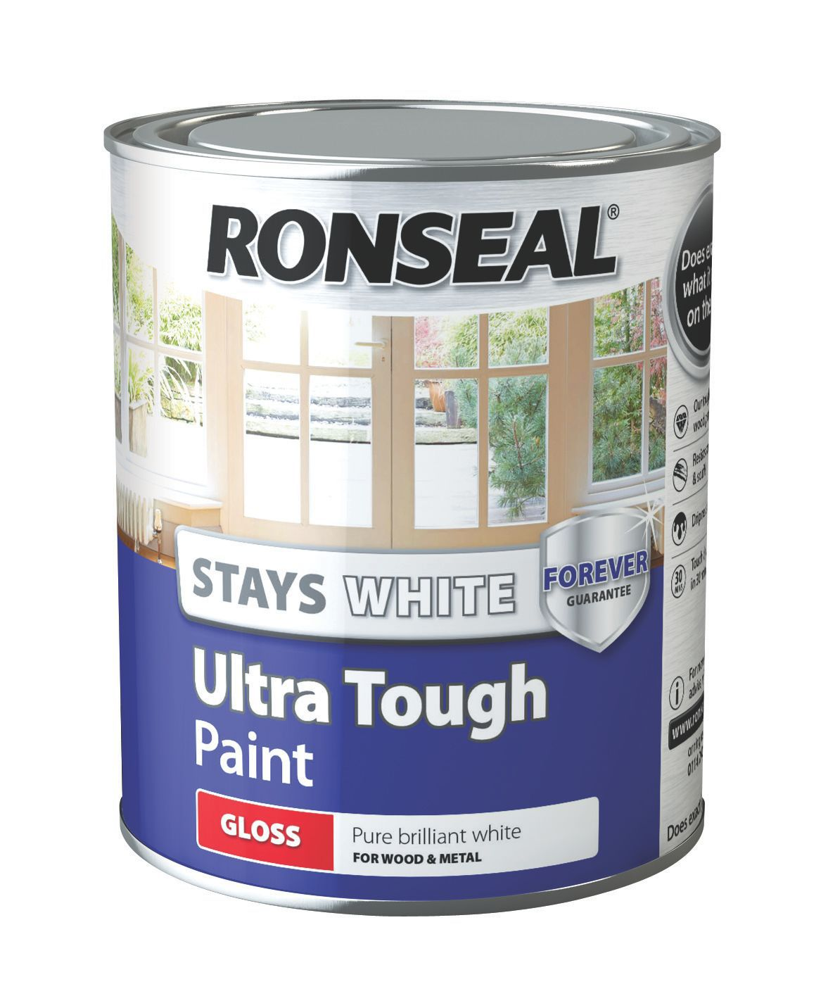 Ronseal Interior Exterior Pure Brilliant White Gloss Wood Metal Paint 750ml Departments