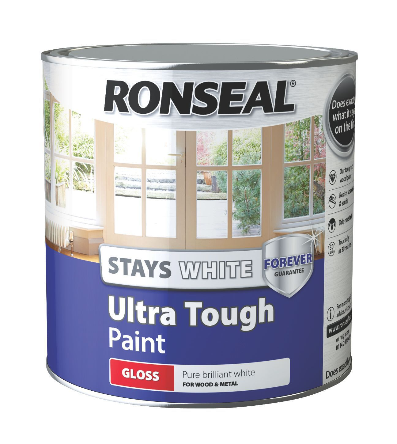 Ronseal Pure Brilliant White Gloss Wood Metal Paint 2500ml Departments Diy At B Q