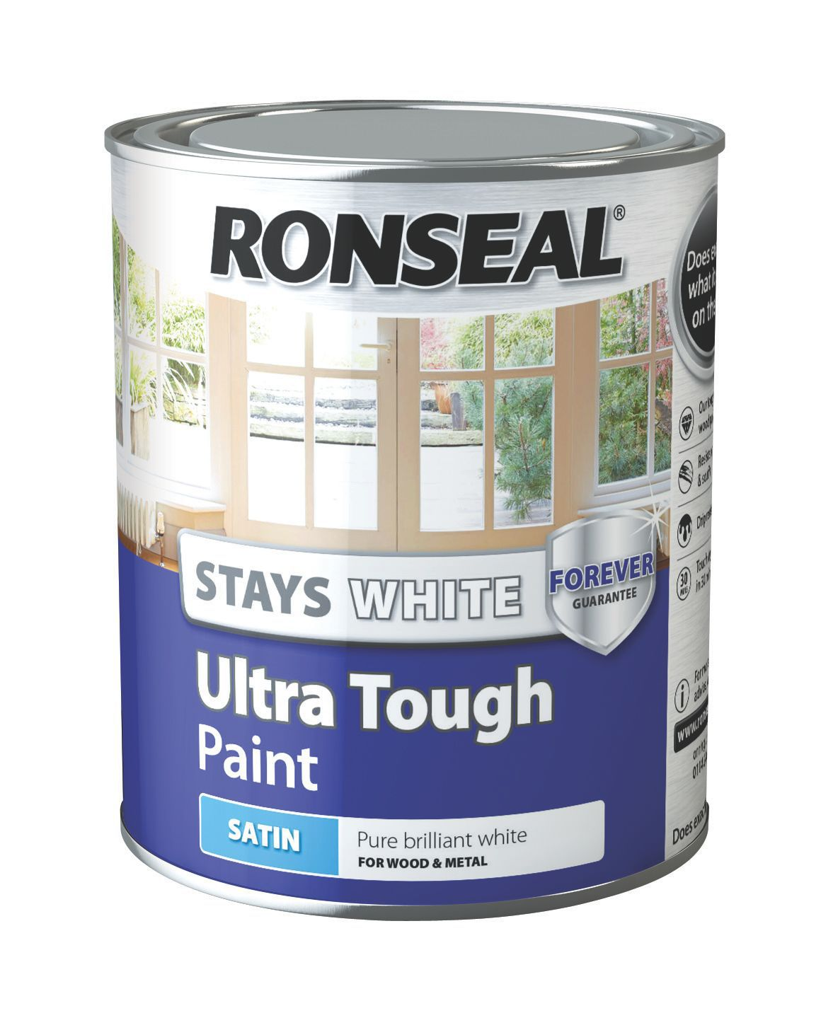 Ronseal Interior Exterior Pure Brilliant White Satin Wood Metal Paint 750ml Departments