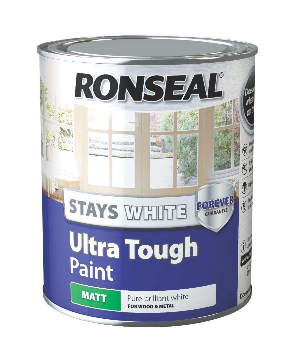 Ronseal interior exterior pure brilliant white matt wood metal paint 750ml departments - Matt exterior paint image ...