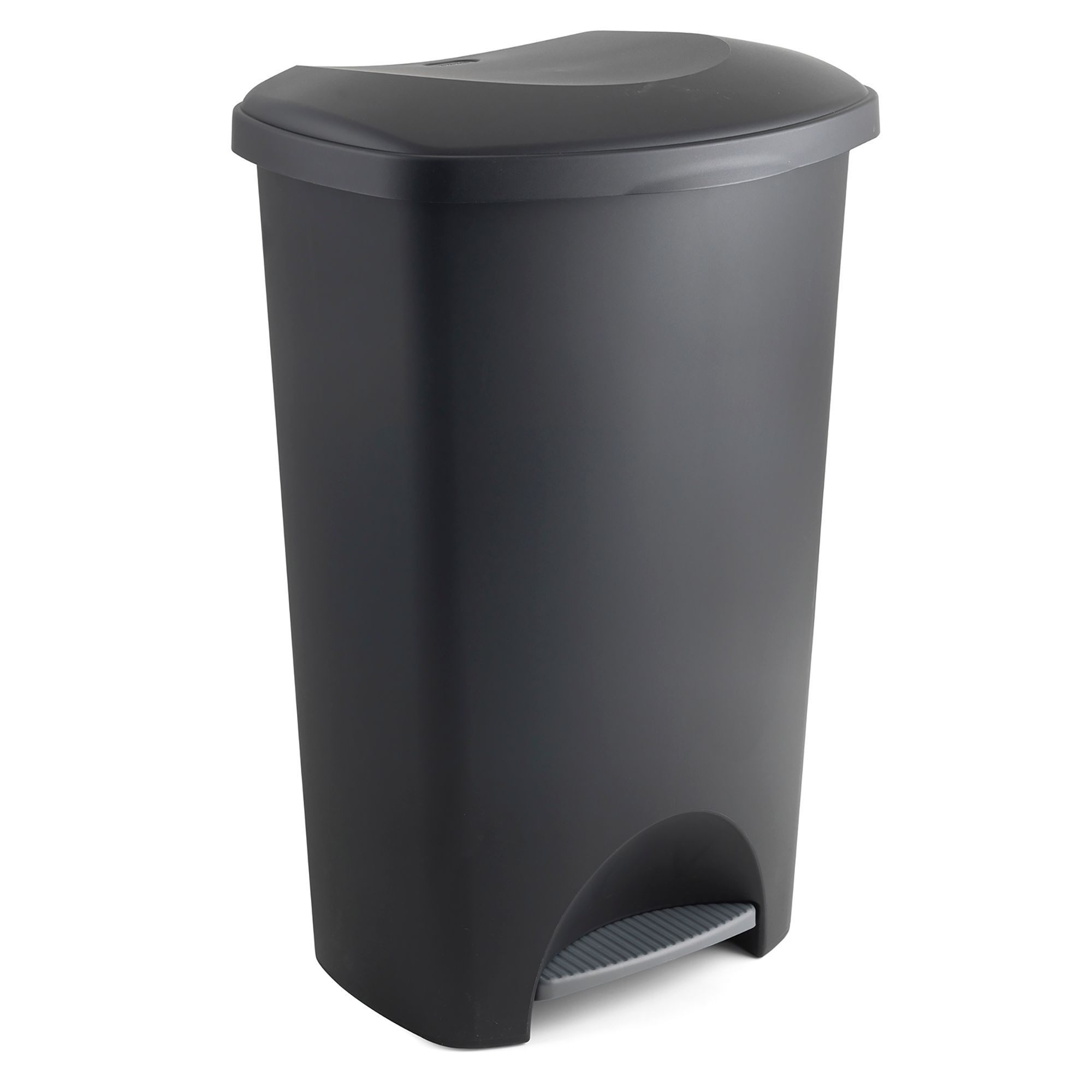 Addis Slim Matt Black Plastic Rectangular Pedal Bin, 50l