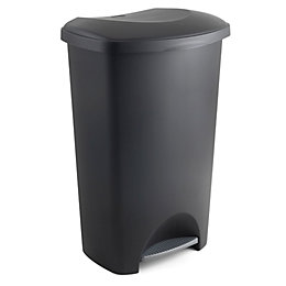 Addis Slim Matt Black Plastic Rectangular Pedal Bin,