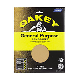 Oakey 100 Fine Sandpaper, Pack of 5