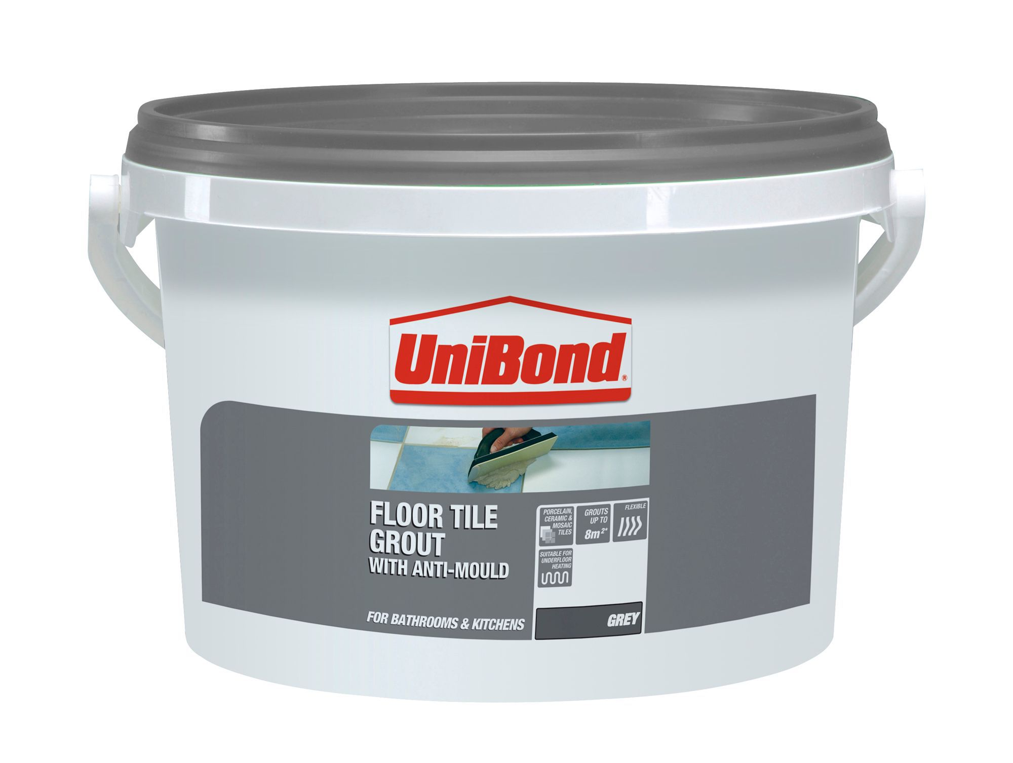 Unibond grey floor tile grout w375kg departments diy at bq dailygadgetfo Gallery