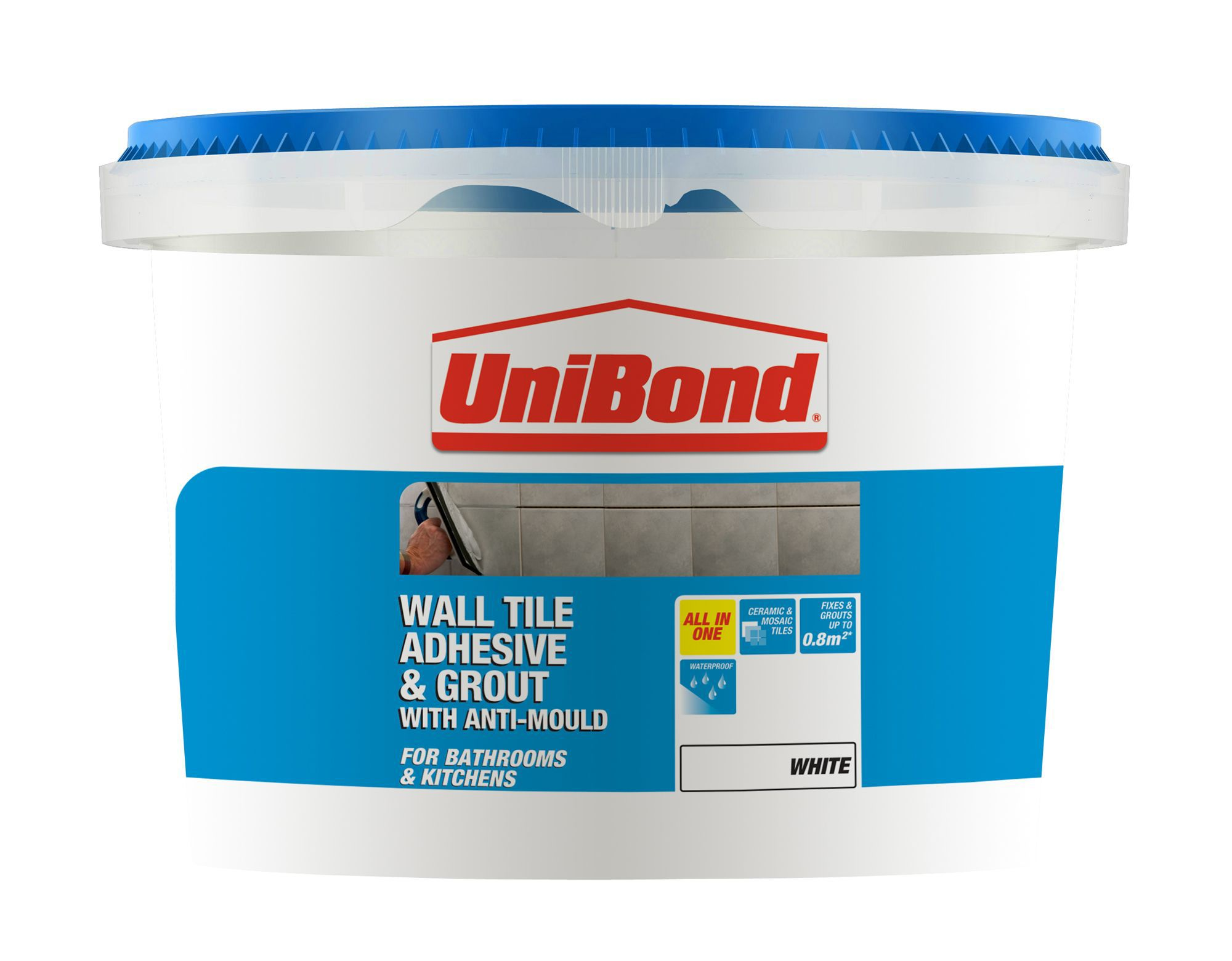 Diy at bq unibond ready to use wall tile adhesive grout white 138kg dailygadgetfo Gallery
