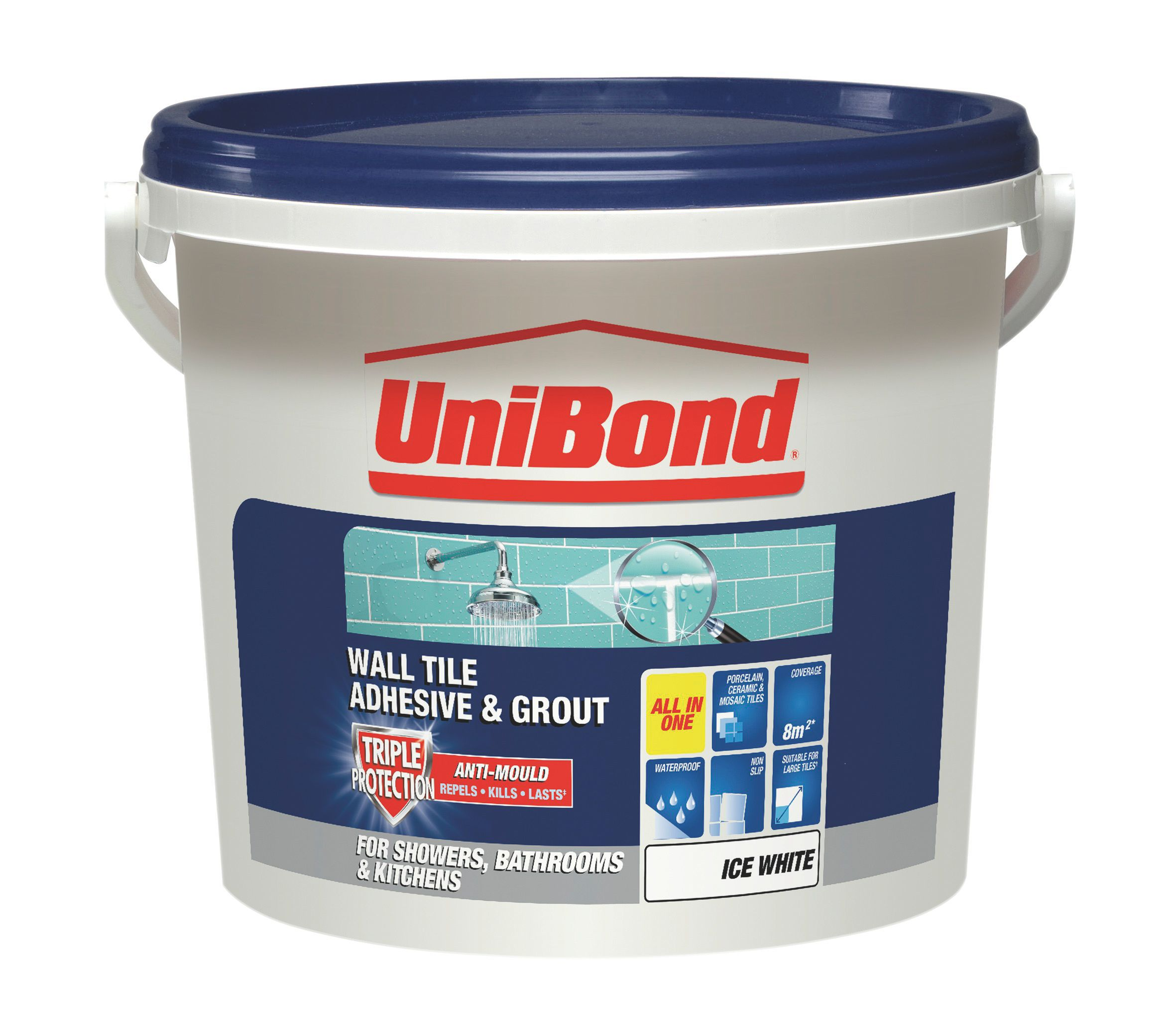 Unibond ready to use wall tile adhesive grout ice white 128kg unibond ready to use wall tile adhesive grout ice white 128kg departments diy at bq dailygadgetfo Gallery