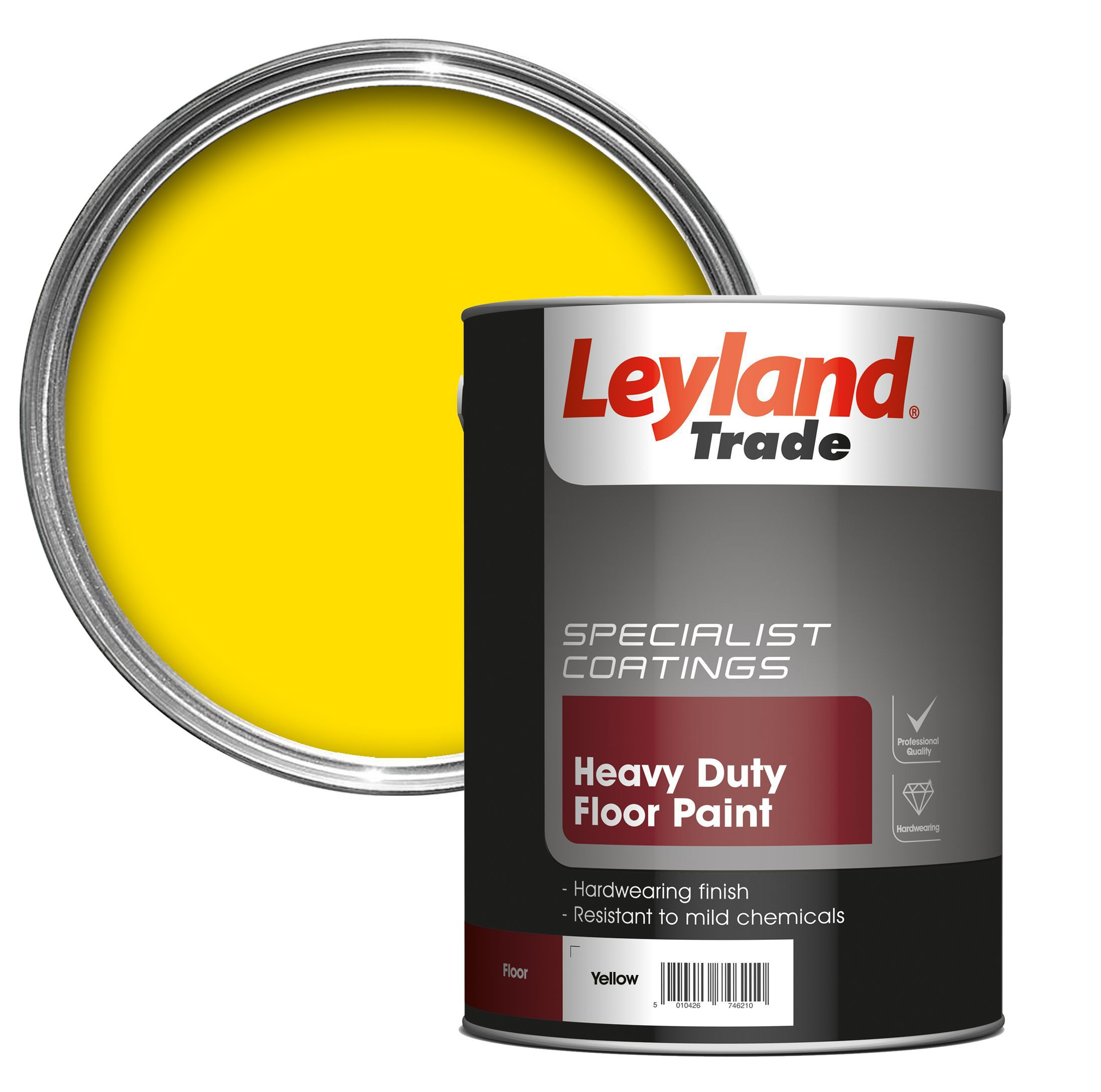 Leyland Trade Heavy Duty Yellow Satin Floor Tile Paint5l Departments Diy At B Q
