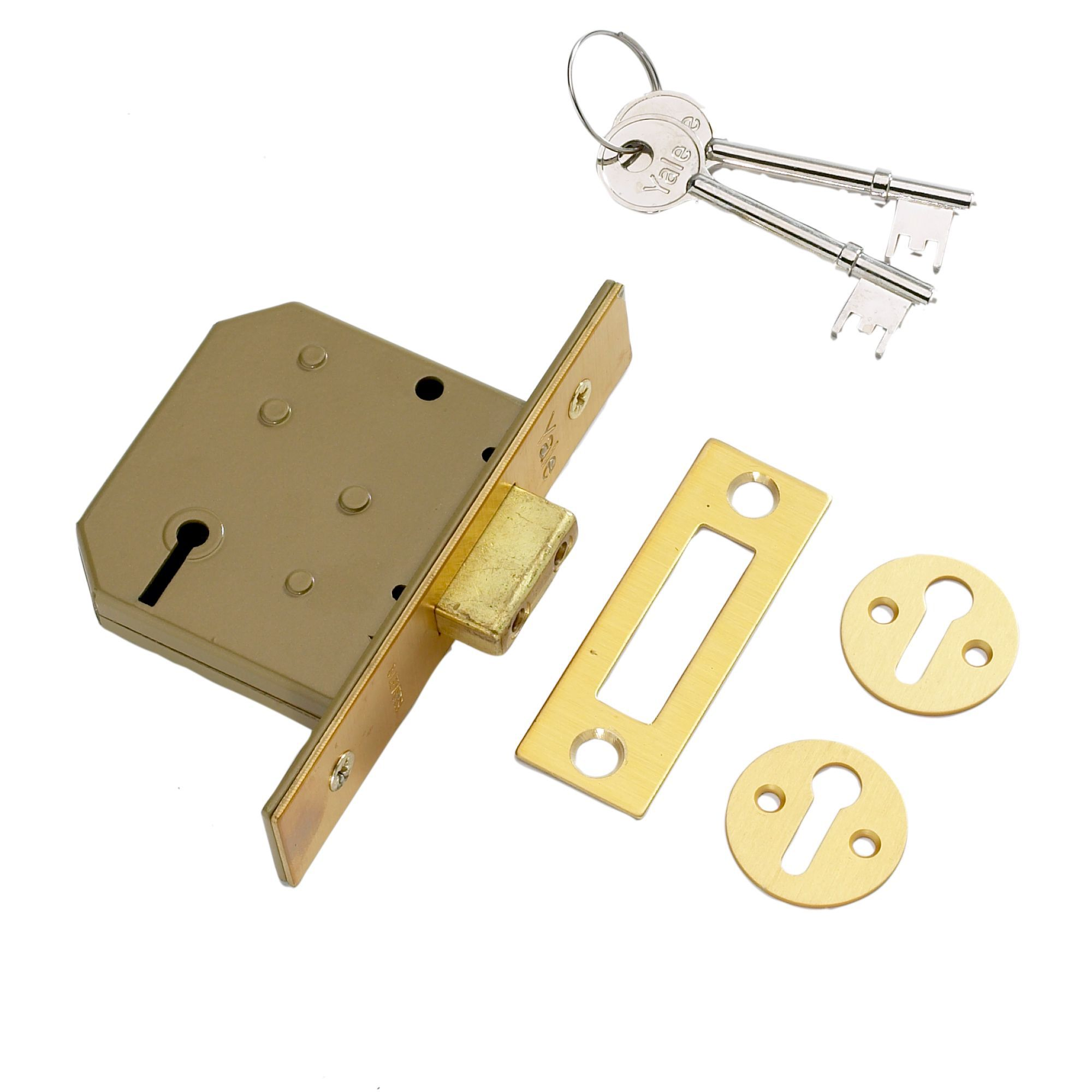 Yale 64mm Polished Brass 3 Lever Mortice Deadlock