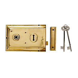 Yale 43mm Polished Brass 2 Lever Rim Lock