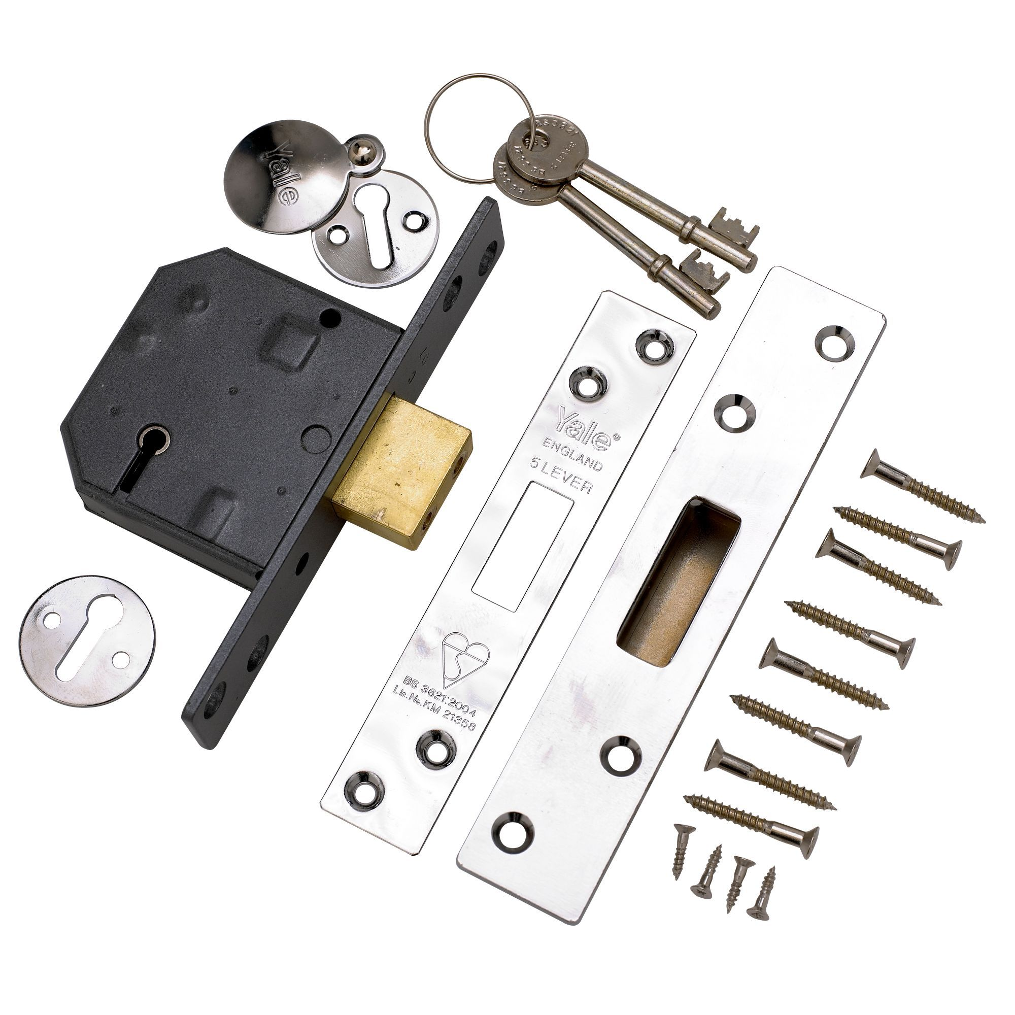 Yale 64mm Polished Chrome 5 Lever Deadlock