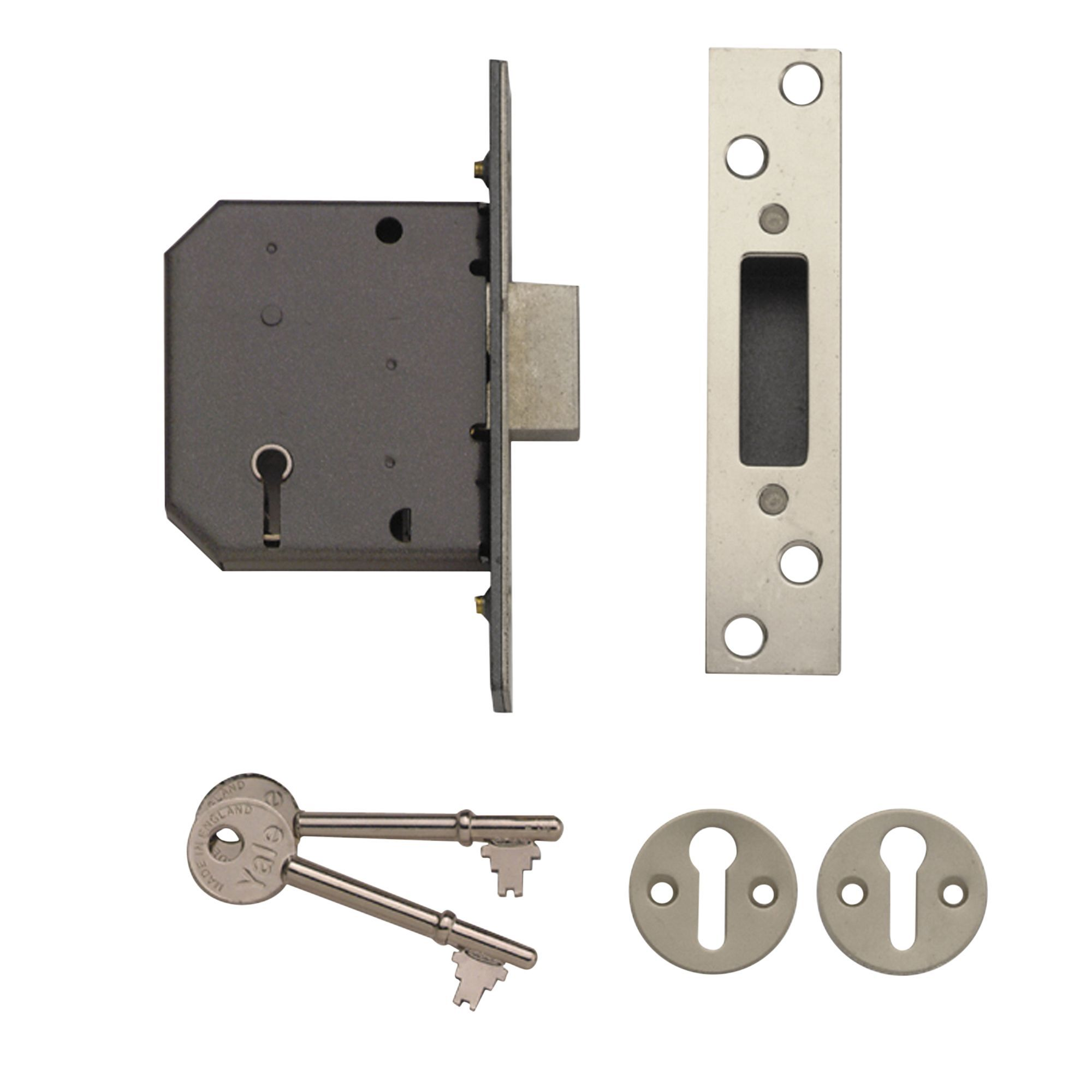 Yale 76mm Polished Chrome 5 Lever Mortice Deadlock