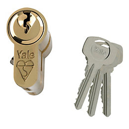 Yale 80mm Brass Plated Euro Cylinder Lock