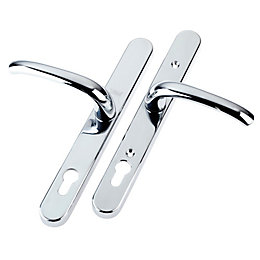 Chrome Effect External Curved Key Lock Door Handle,