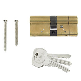 Yale 95mm Brass-Plated Euro Cylinder Lock
