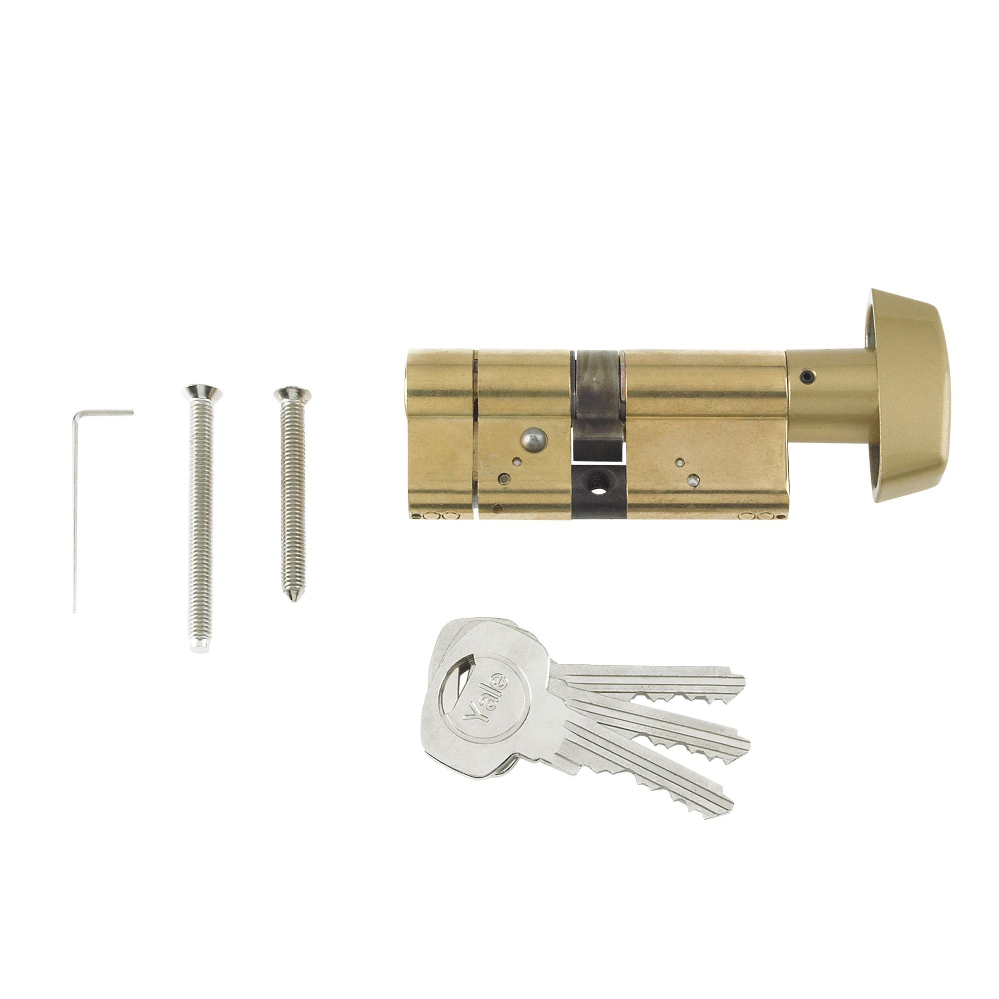 Yale 70mm Brass Plated Thumbturn Euro Cylinder Lock