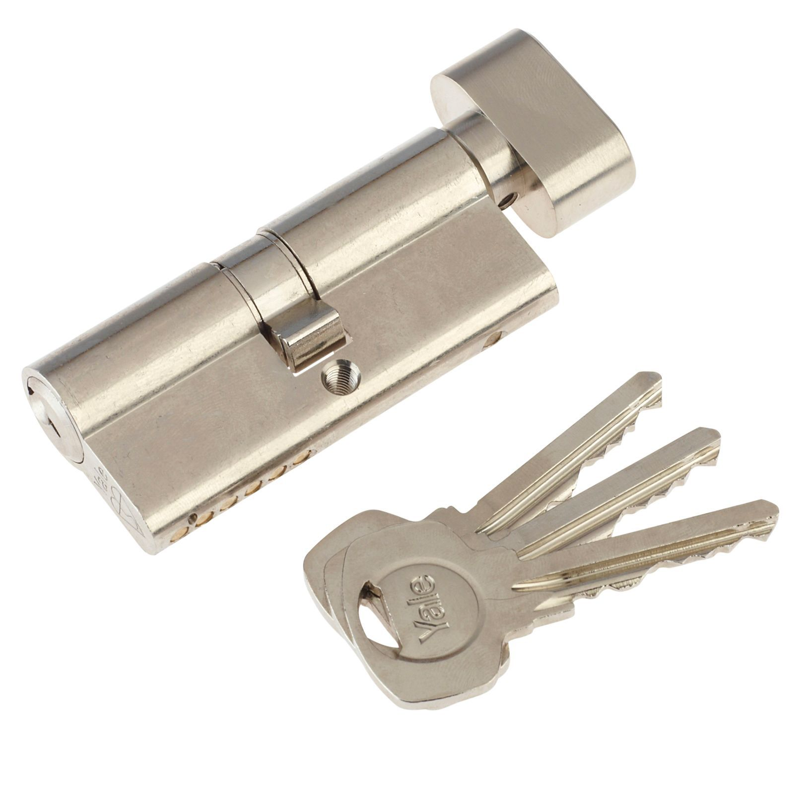 Yale 70mm Nickel Plated Thumbturn Euro Cylinder Lock