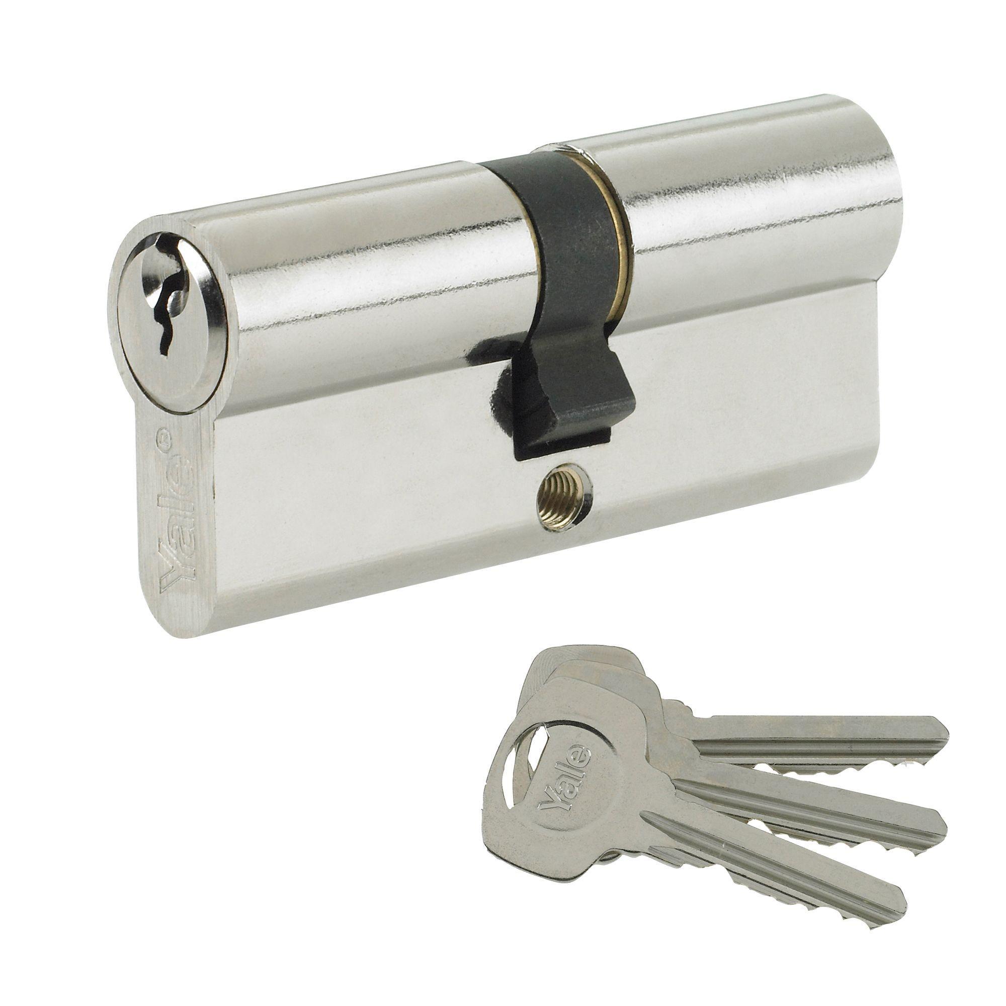 Yale 70mm Nickel-plated Euro Cylinder Lock