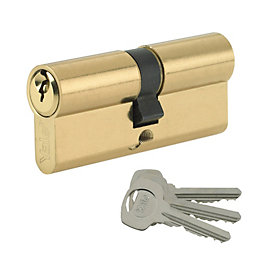Yale 80mm Brass-Plated Euro Cylinder Lock