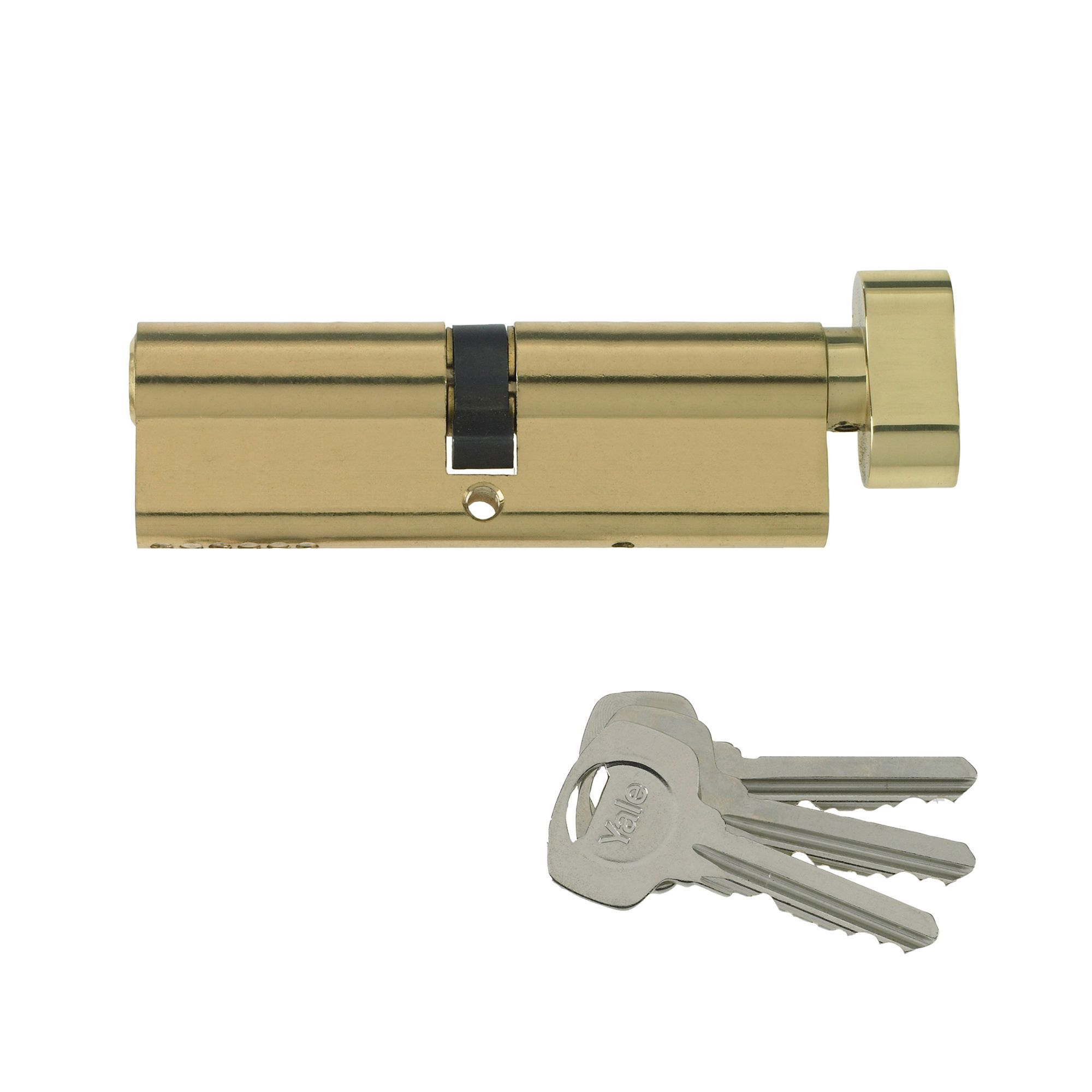 Yale 70mm Brass-plated Thumbturn Euro Cylinder Lock