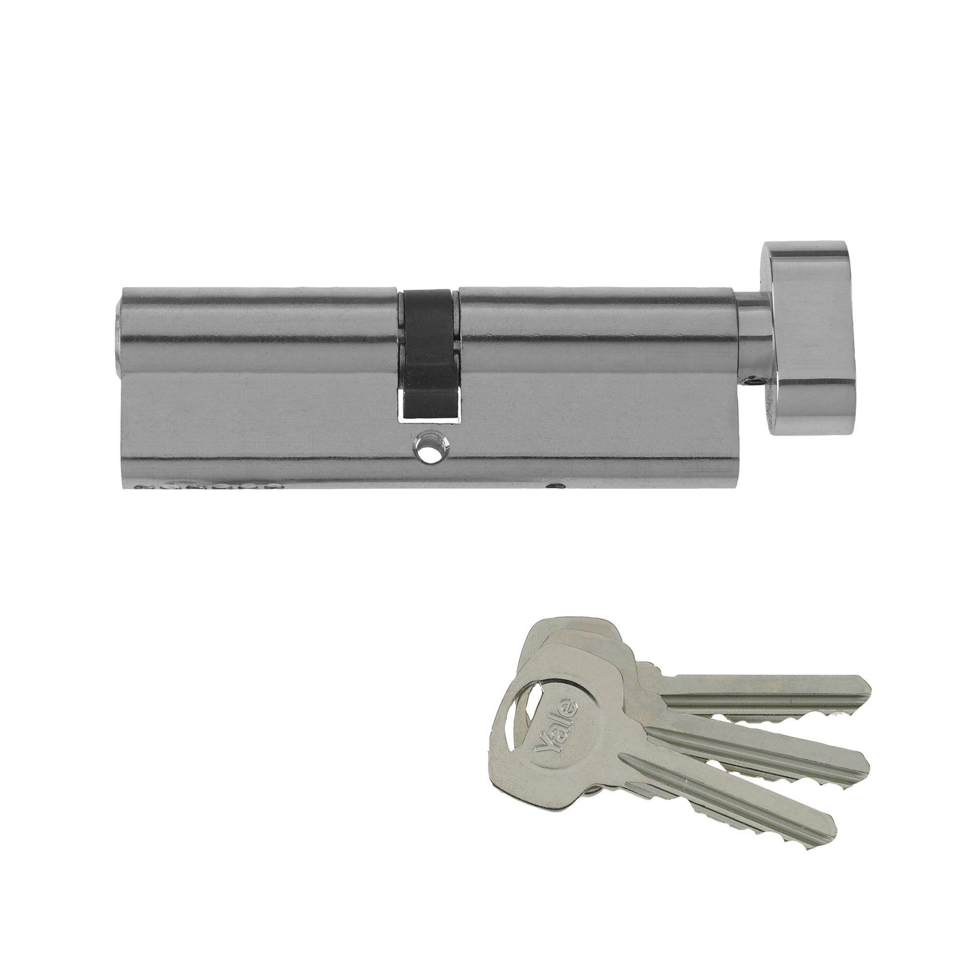 Yale 70mm Nickel-plated Thumbturn Euro Cylinder Lock