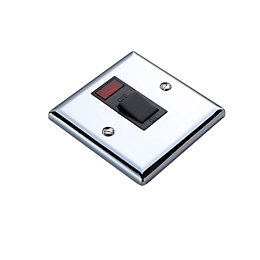 Volex 20A Double Pole Silver Effect Switch
