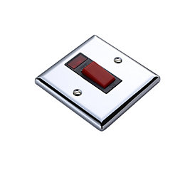 Volex 45A Double Pole Chrome Effect Cooker Switch