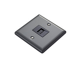 1 Gangraised Pewter Effect Telephone Socket