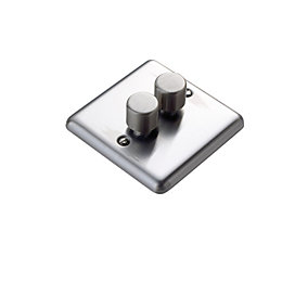 Volex 2-Way Double Brushed Steel Double Dimmer Switch