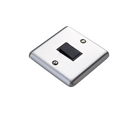 Volex 10AX 2-Way Single Stainless Steel Effect Single