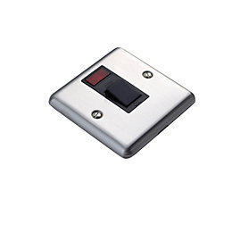 Volex 20A Single Polished Steel Switch with Neon