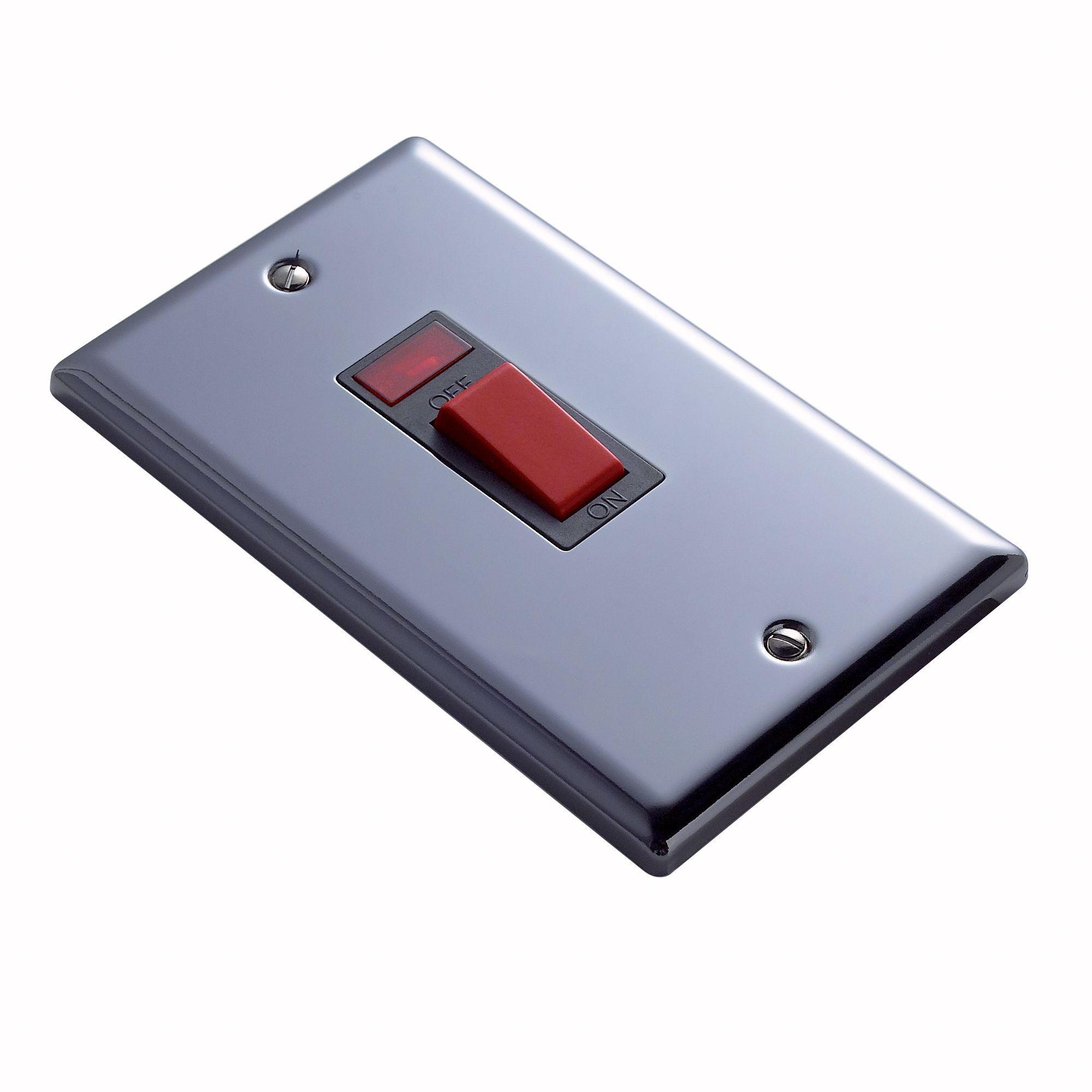 Volex 45a Double Pole Black/iridium Cooker Switch