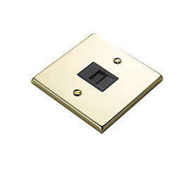1-Gang Raised Brass Effect Telephone Socket
