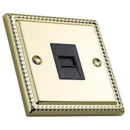 Volex 1 Gangraised Brass Telephone Socket
