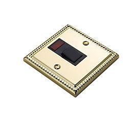 Volex 20A Brass Effect Single Switch with Neon