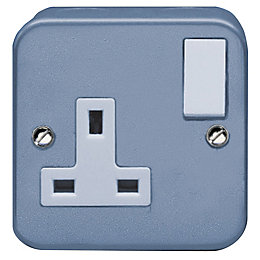 Holder 13A 1-Gang Grey Switched Socket