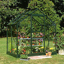 Green B&Q 6X4 Horticultural Glass Greenhouse
