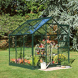 Green B&Q 6X6 Horticultural Glass Greenhouse
