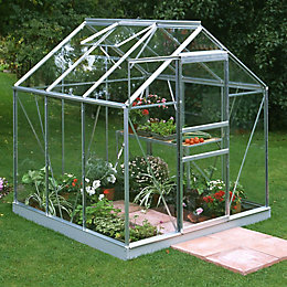 B&Q Metal 6X6 Horticultural Glass Greenhouse