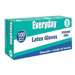 Everyday Small Household Latex Disposable Gloves, Pack of