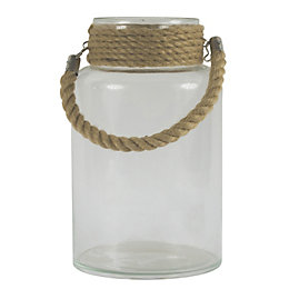 Clear Authentic Glass & Rope Hurricane Lantern, Large
