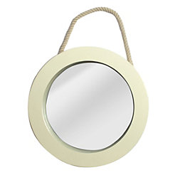 Colours Solid Cream Framed Circular Mirror (H)250mm (W)
