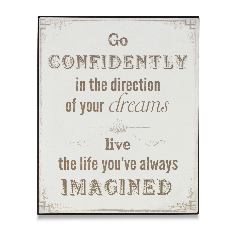 Go Confidently Grey & White Plaque (w)22cm (h)25cm