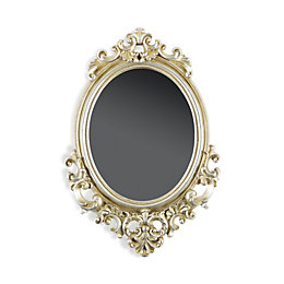 Colours Prelude Ornate Scroll Silver Framed Oval Mirror