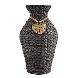 Brown Wicker Vase, Large